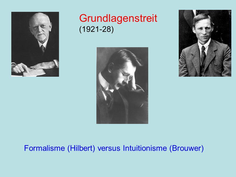 Grundlagenstreit (1921-28) Formalisme (Hilbert) versus Intuitionisme (Brouwer)
