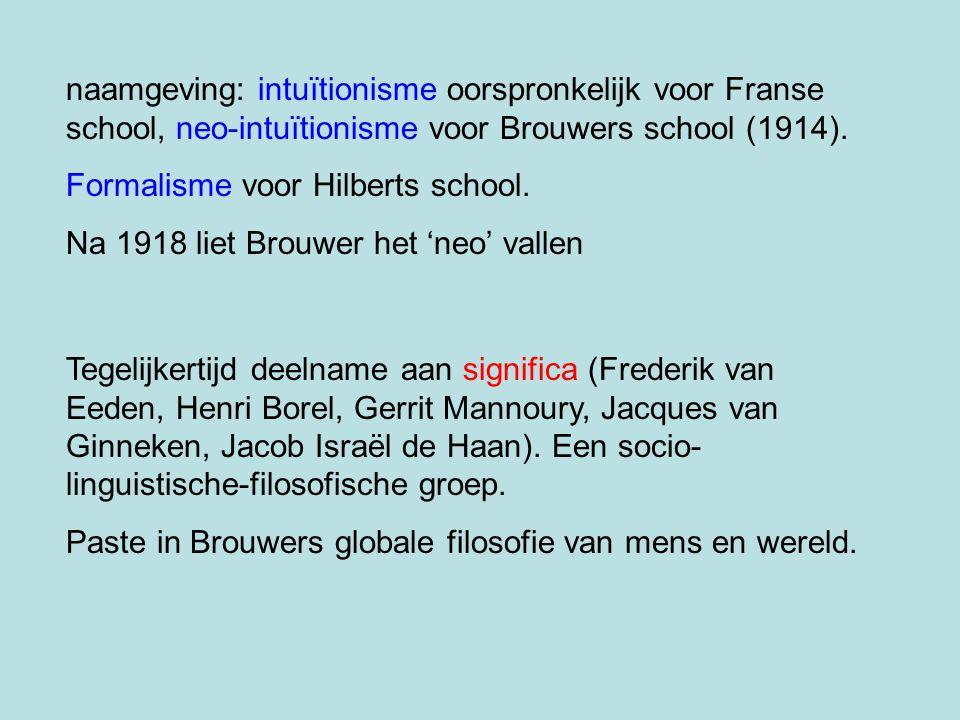 naamgeving: intuïtionisme oorspronkelijk voor Franse school, neo-intuïtionisme voor Brouwers school (1914).