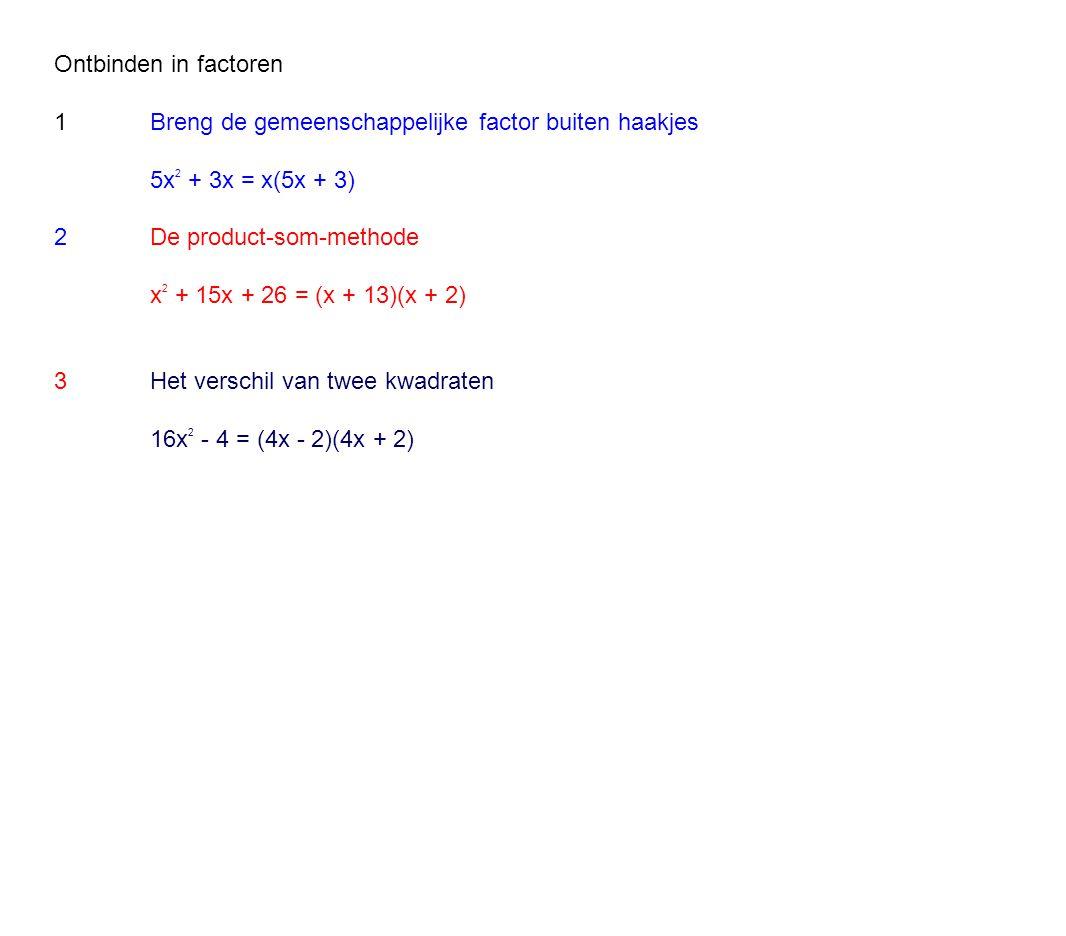 Ontbinden in factoren 1 Breng de gemeenschappelijke factor buiten haakjes. 5x2 + 3x = x(5x + 3) 2 De product-som-methode.