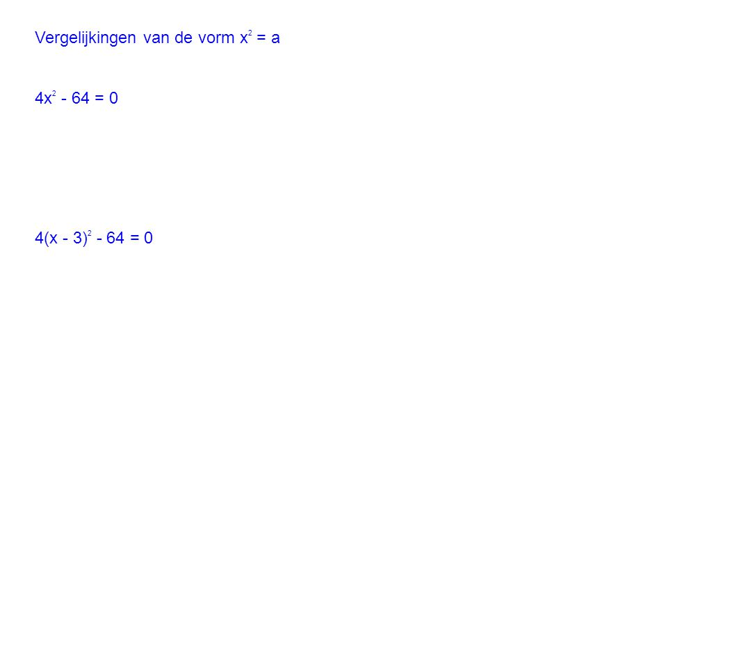 Vergelijkingen van de vorm x2 = a