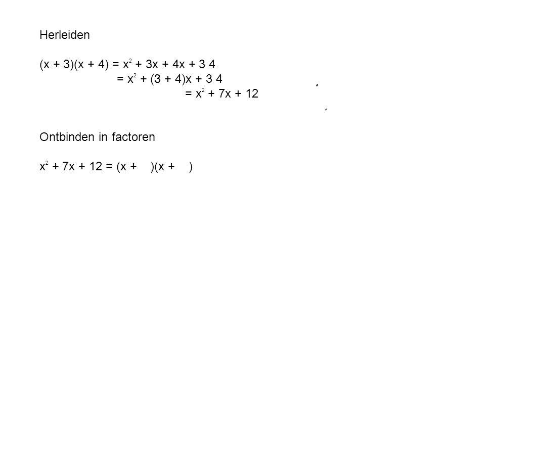 Herleiden (x + 3)(x + 4) = x2 + 3x + 4x + 3 4. = x2 + (3 + 4)x + 3 4. = x2 + 7x + 12. Ontbinden in factoren.