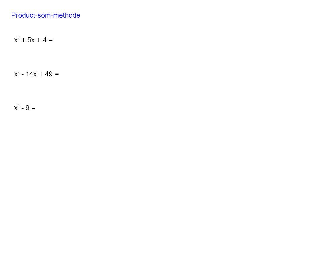 Product-som-methode x2 + 5x + 4 = x2 - 14x + 49 = x2 - 9 =