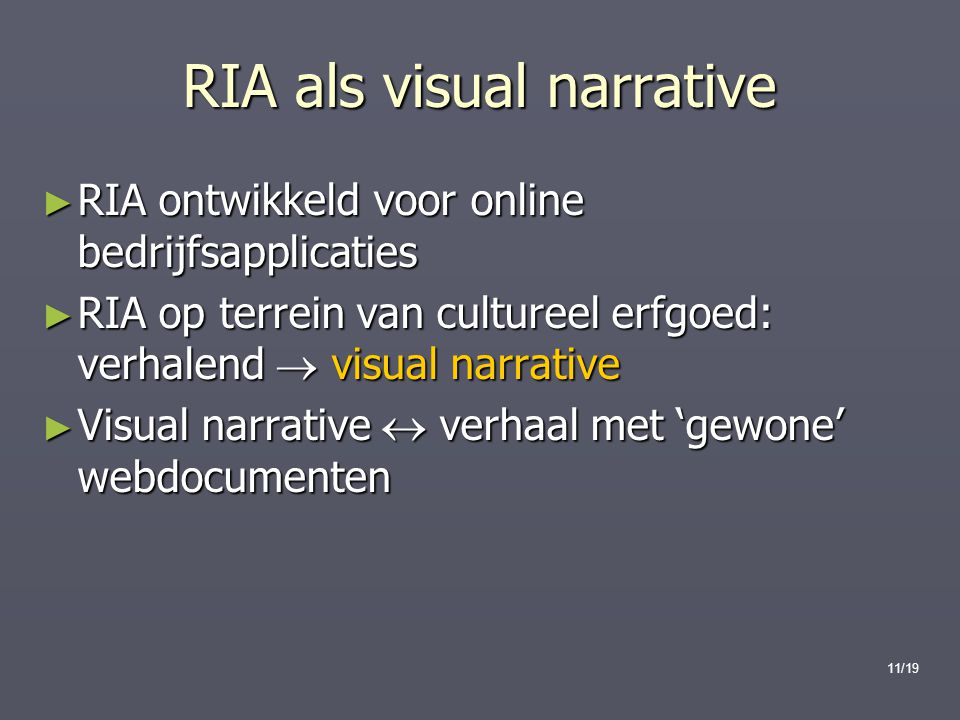 RIA als visual narrative