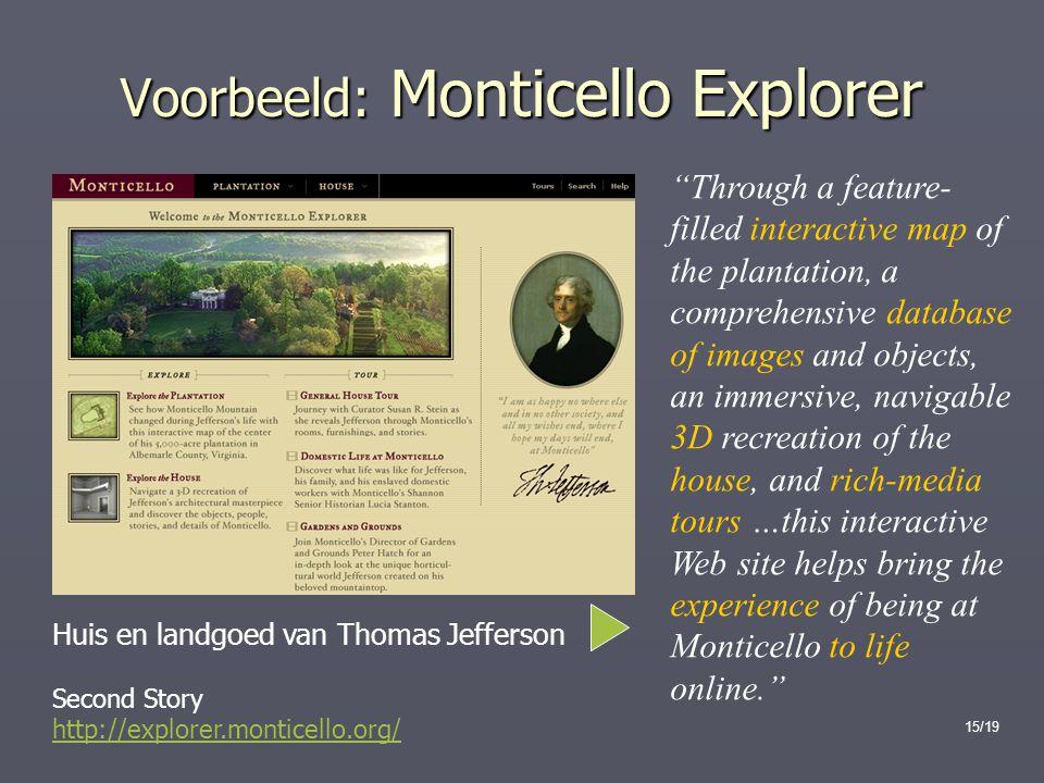 Voorbeeld: Monticello Explorer