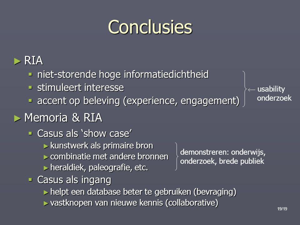 Conclusies RIA Memoria & RIA niet-storende hoge informatiedichtheid