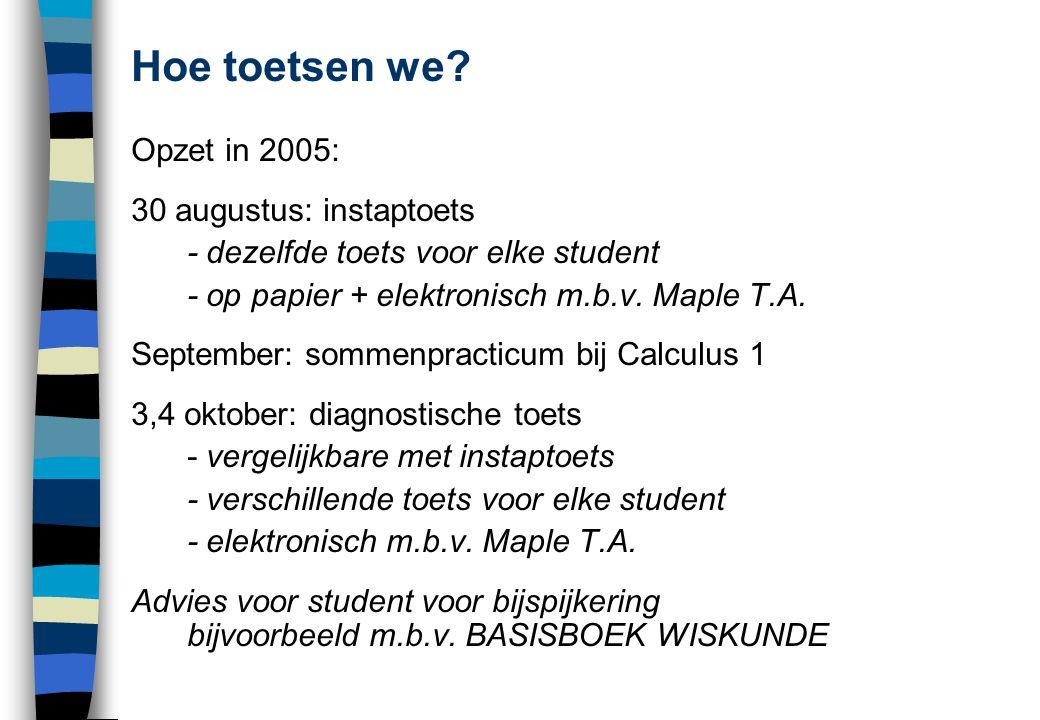 Hoe toetsen we Opzet in 2005: 30 augustus: instaptoets