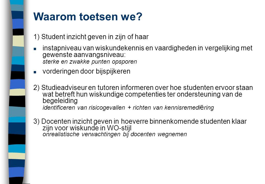 Waarom toetsen we 1) Student inzicht geven in zijn of haar