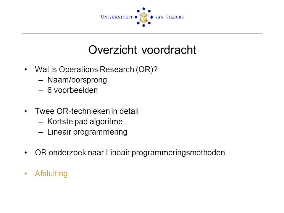Overzicht voordracht Wat is Operations Research (OR) Naam/oorsprong