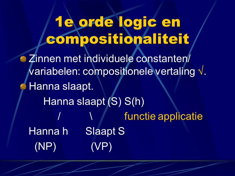 1e orde logic en compositionaliteit