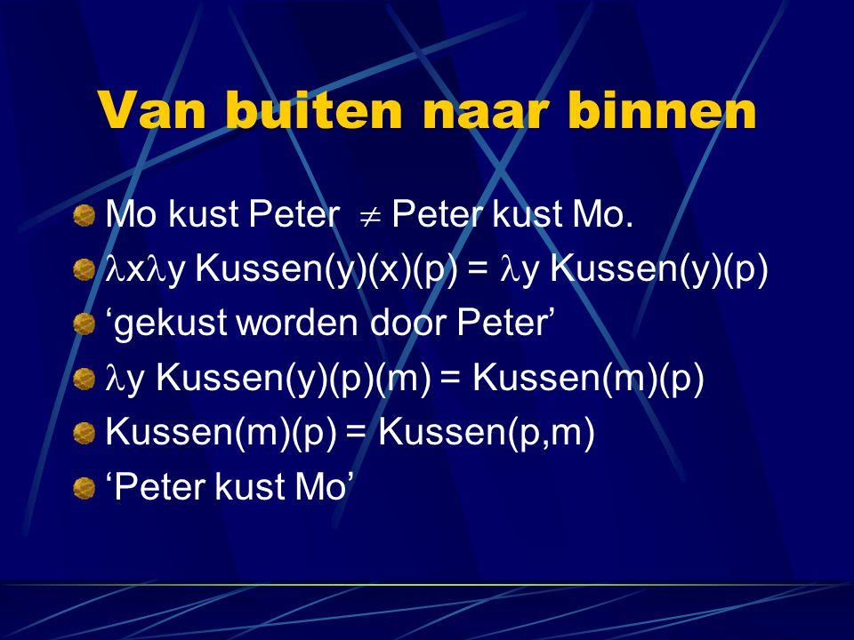 Van buiten naar binnen Mo kust Peter  Peter kust Mo.