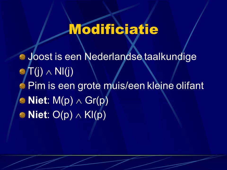 Modificiatie Joost is een Nederlandse taalkundige T(j)  Nl(j)