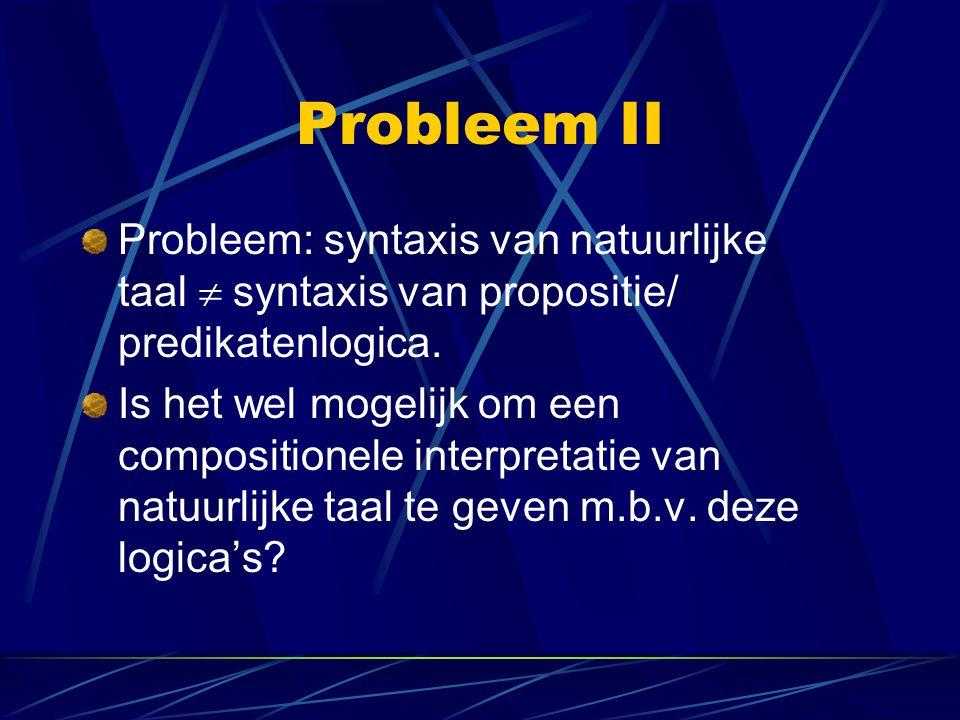 Probleem II Probleem: syntaxis van natuurlijke taal syntaxis van propositie/ predikatenlogica.