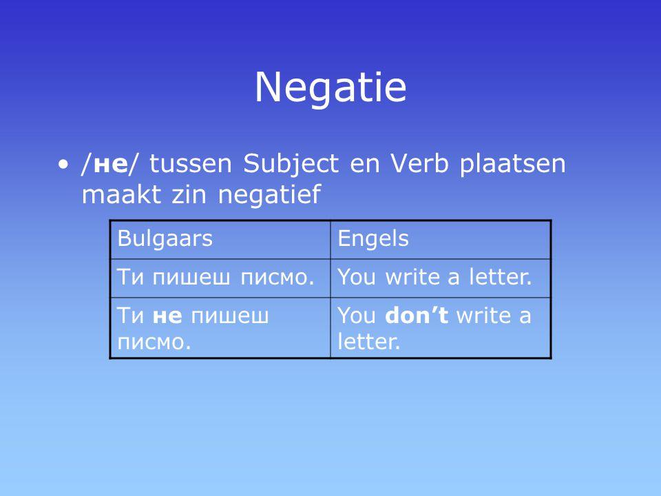 Negatie /не/ tussen Subject en Verb plaatsen maakt zin negatief