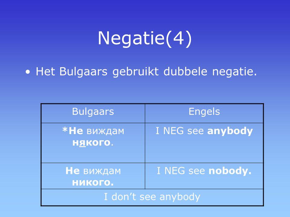 Negatie(4) Het Bulgaars gebruikt dubbele negatie. Bulgaars Engels