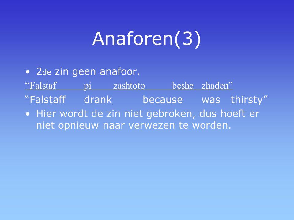 Anaforen(3) 2de zin geen anafoor. Falstaf pi zashtoto beshe zhaden