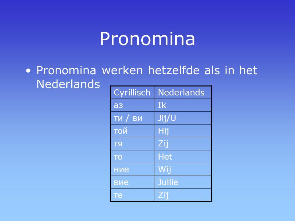 Pronomina Pronomina werken hetzelfde als in het Nederlands Cyrillisch