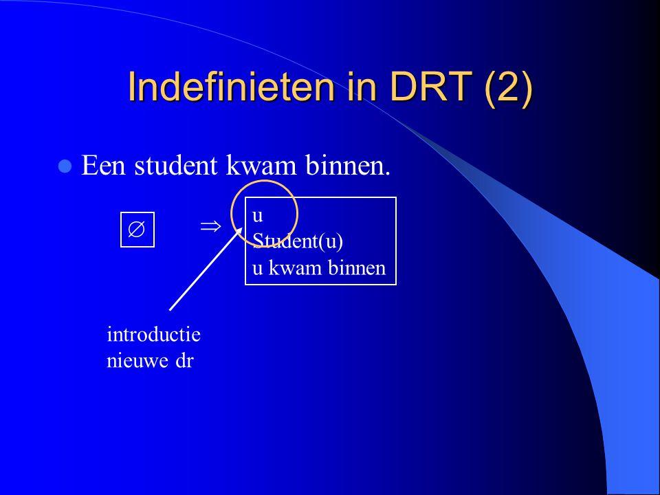 Indefinieten in DRT (2) Een student kwam binnen. u   Student(u)