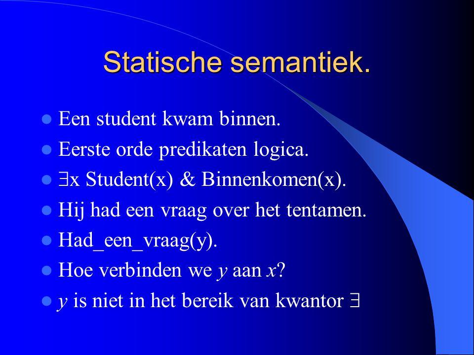 Statische semantiek. Een student kwam binnen.