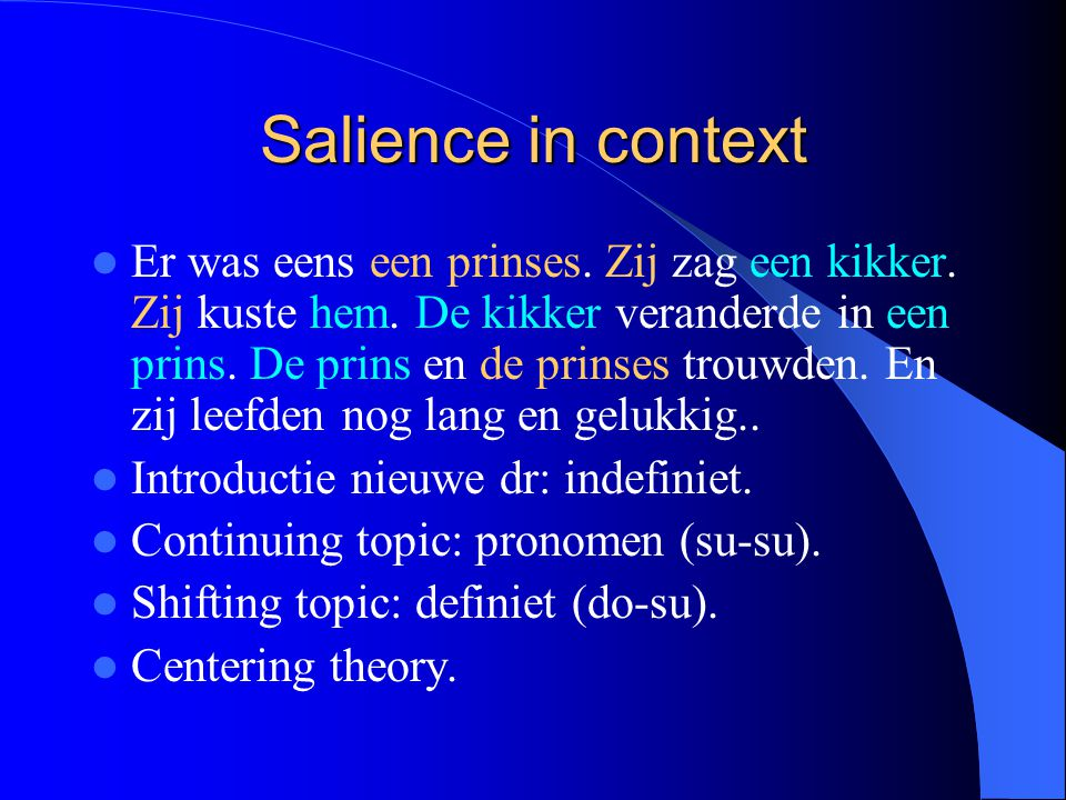Salience in context