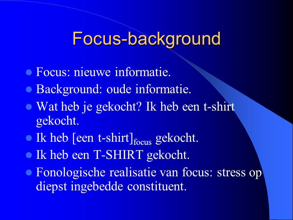 Focus-background Focus: nieuwe informatie.