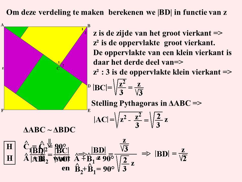 Om deze verdeling te maken berekenen we |BD| in functie van z