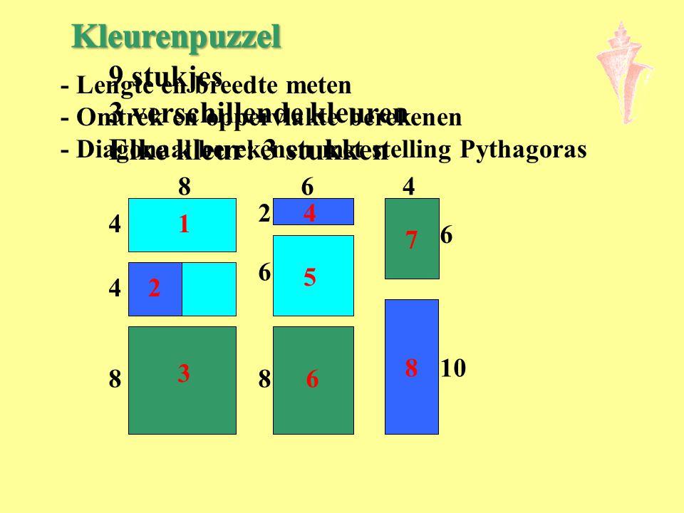 Kleurenpuzzel 9 stukjes 3 verschillende kleuren Elke kleur: 3 stukken