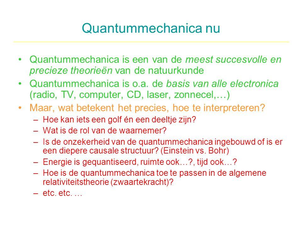 Quantummechanica nu Quantummechanica is een van de meest succesvolle en precieze theorieën van de natuurkunde.