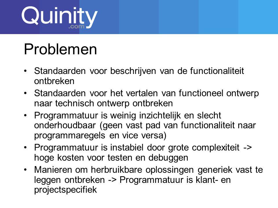 Problemen Standaarden voor beschrijven van de functionaliteit ontbreken.