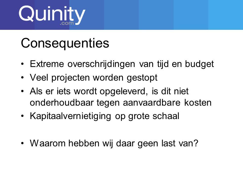 Consequenties Extreme overschrijdingen van tijd en budget
