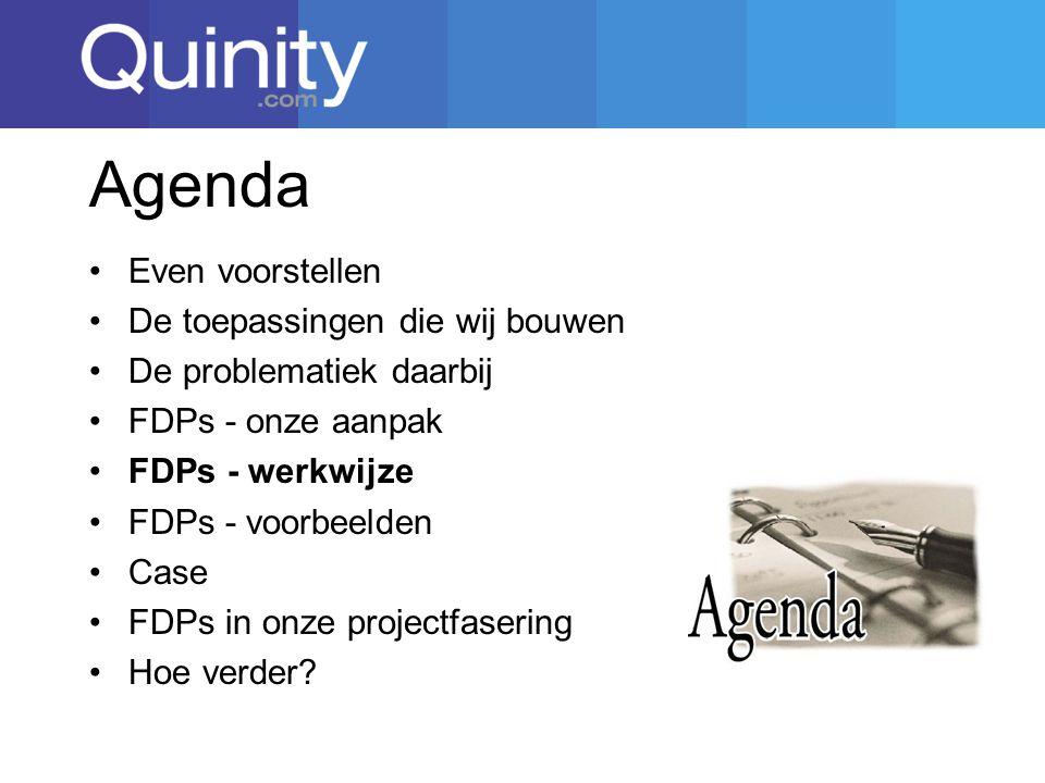 Agenda Even voorstellen De toepassingen die wij bouwen