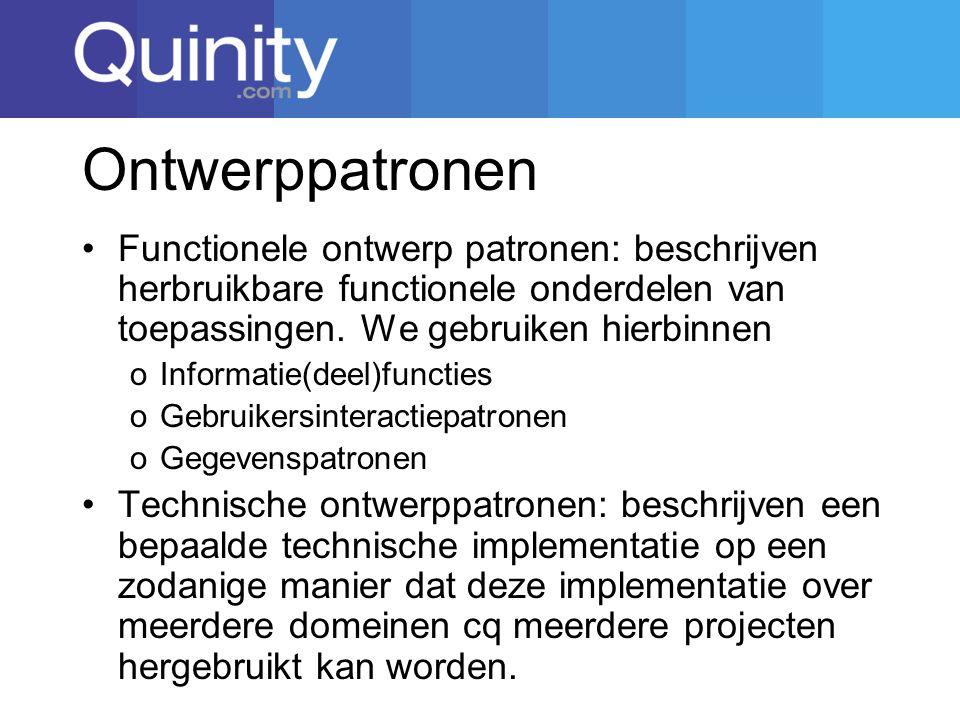 Ontwerppatronen Functionele ontwerp patronen: beschrijven herbruikbare functionele onderdelen van toepassingen. We gebruiken hierbinnen.