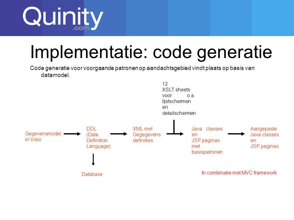 Implementatie: code generatie