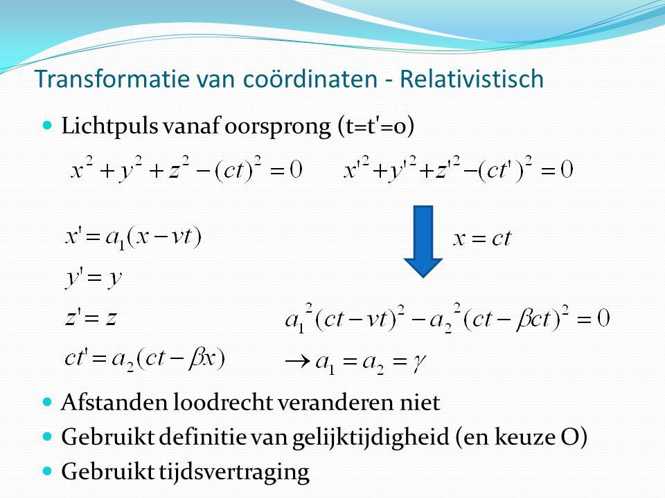 Transformatie van coördinaten - Relativistisch