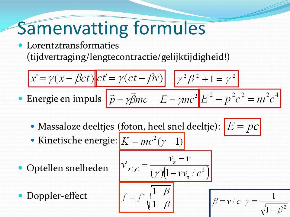 Samenvatting formules