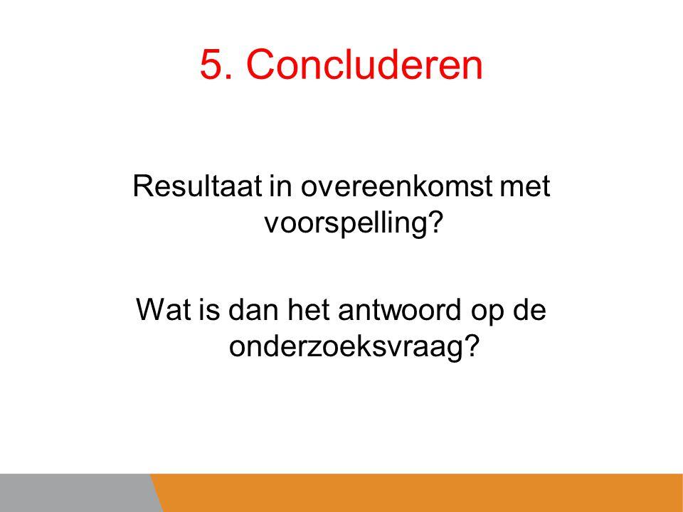 5. Concluderen Resultaat in overeenkomst met voorspelling