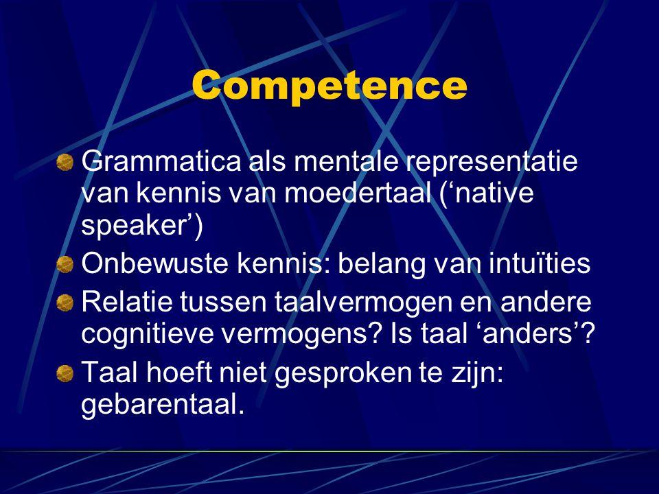 Competence Grammatica als mentale representatie van kennis van moedertaal ('native speaker') Onbewuste kennis: belang van intuïties.