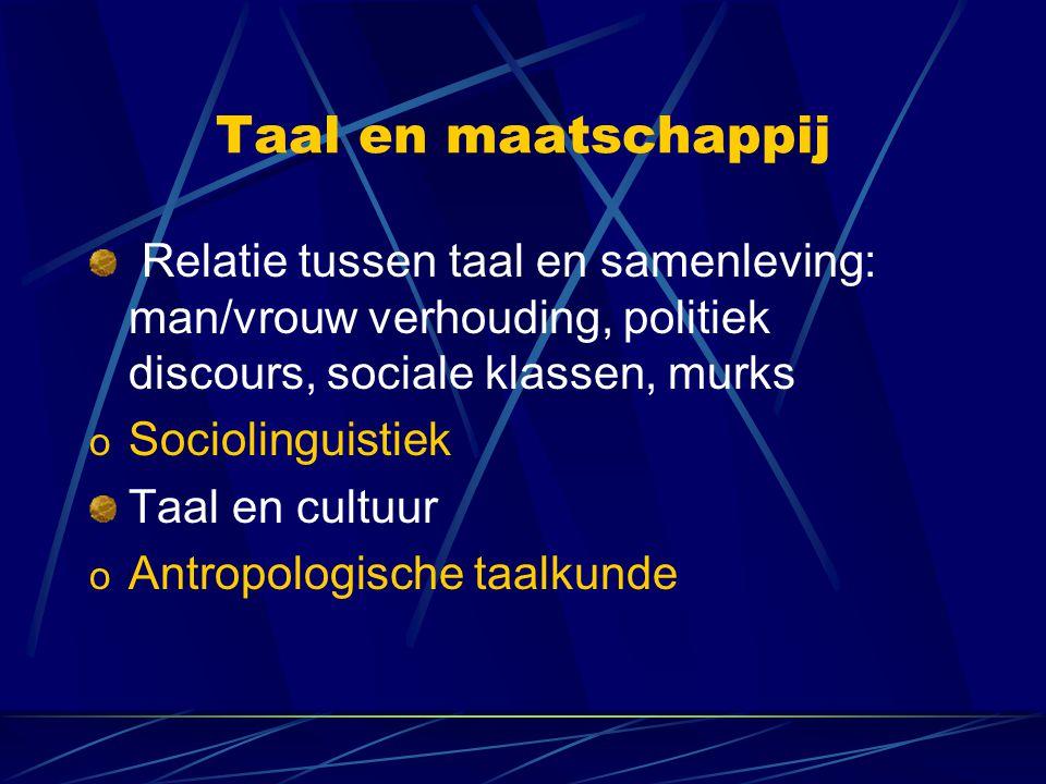 Taal en maatschappij Relatie tussen taal en samenleving: man/vrouw verhouding, politiek discours, sociale klassen, murks.