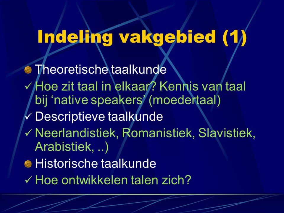 Indeling vakgebied (1) Theoretische taalkunde