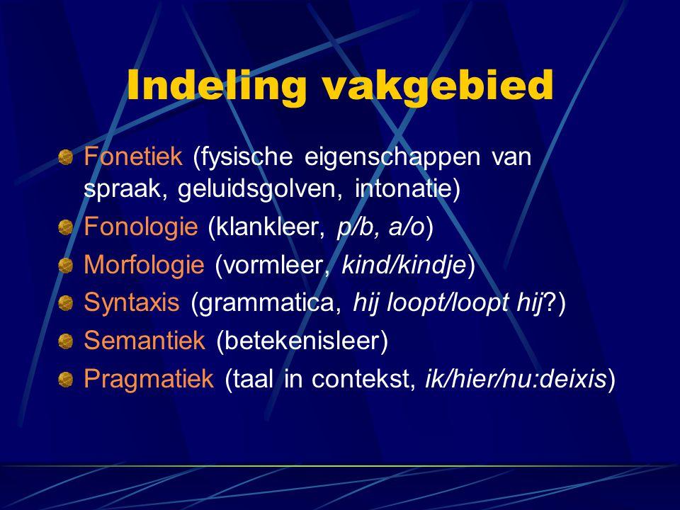 Indeling vakgebied Fonetiek (fysische eigenschappen van spraak, geluidsgolven, intonatie) Fonologie (klankleer, p/b, a/o)