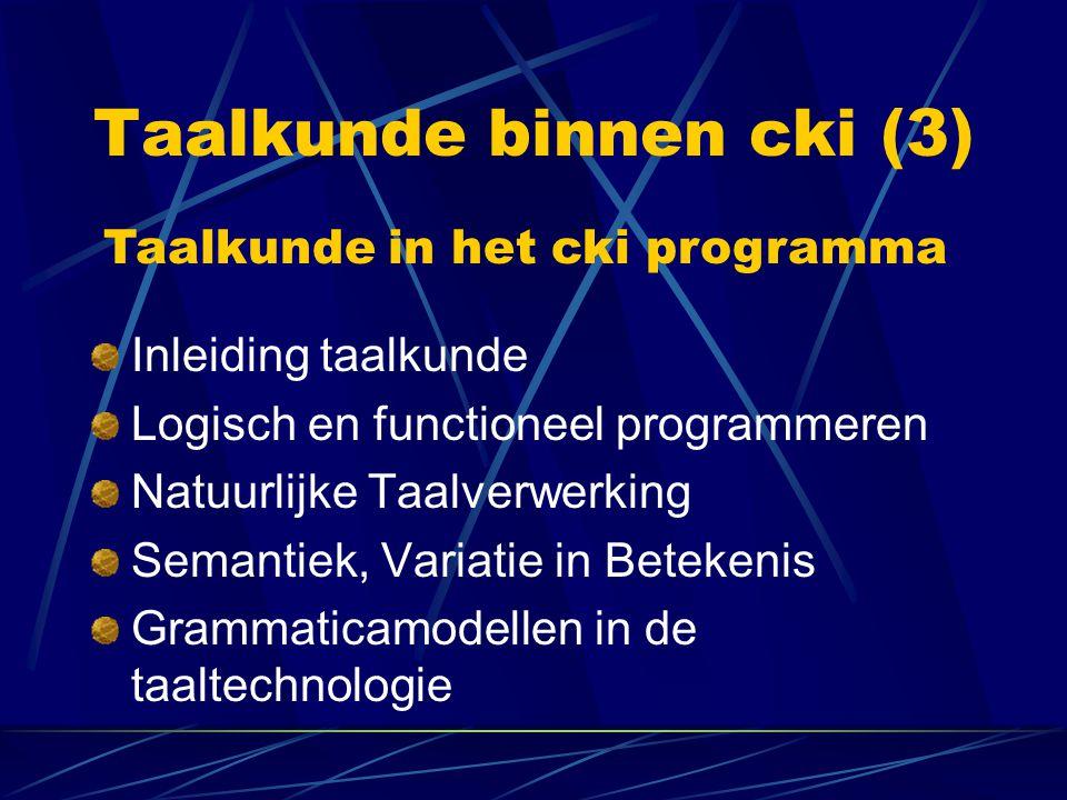 Taalkunde binnen cki (3)