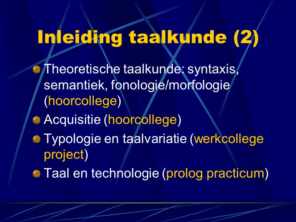 Inleiding taalkunde (2)