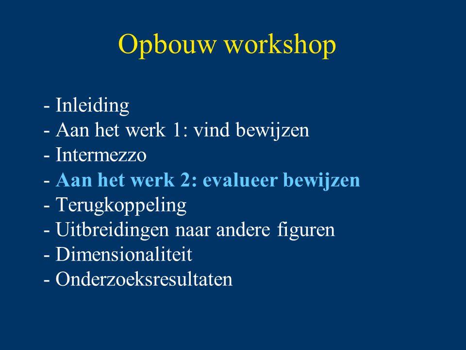 Opbouw workshop Inleiding Aan het werk 1: vind bewijzen Intermezzo