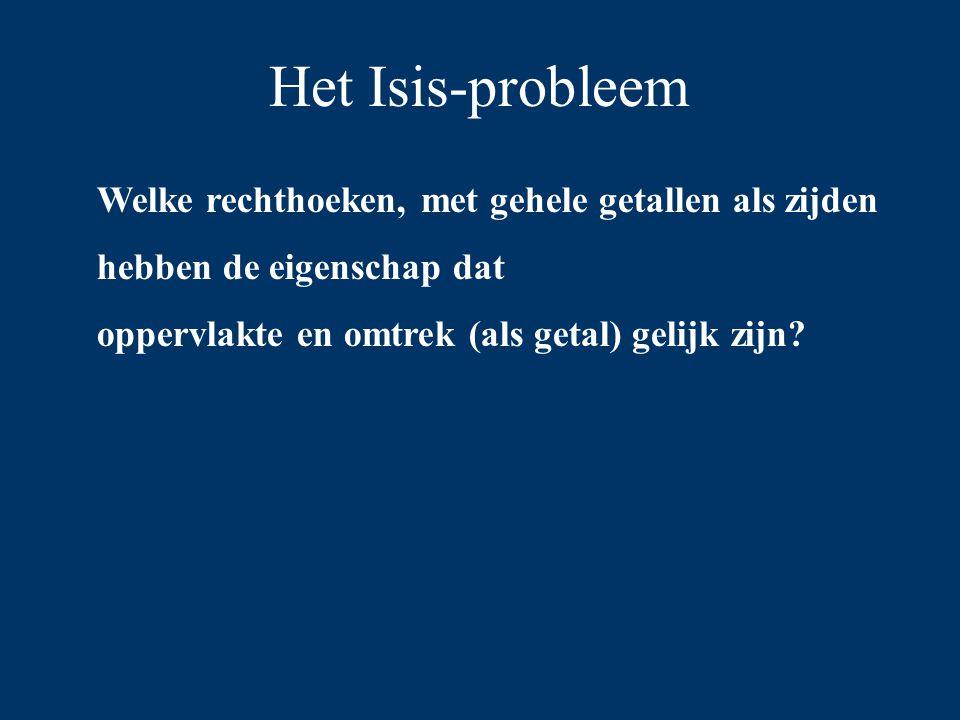 Het Isis-probleem Welke rechthoeken, met gehele getallen als zijden