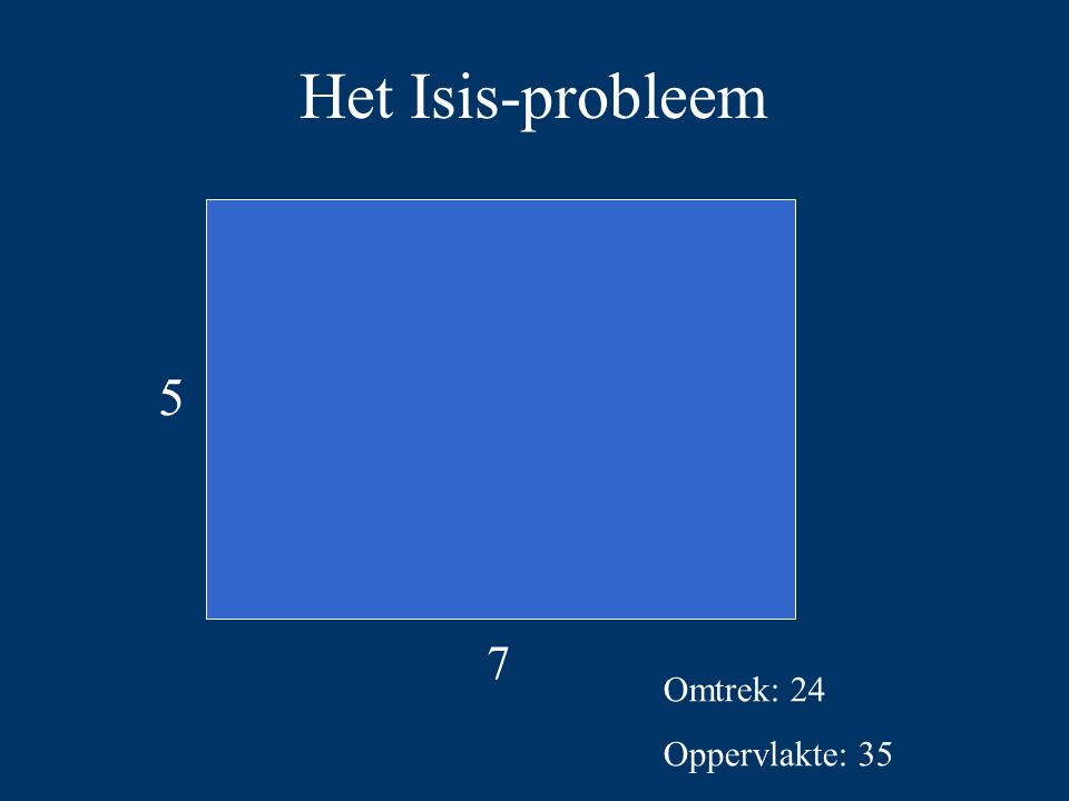 Het Isis-probleem 5 7 Omtrek: 24 Oppervlakte: 35