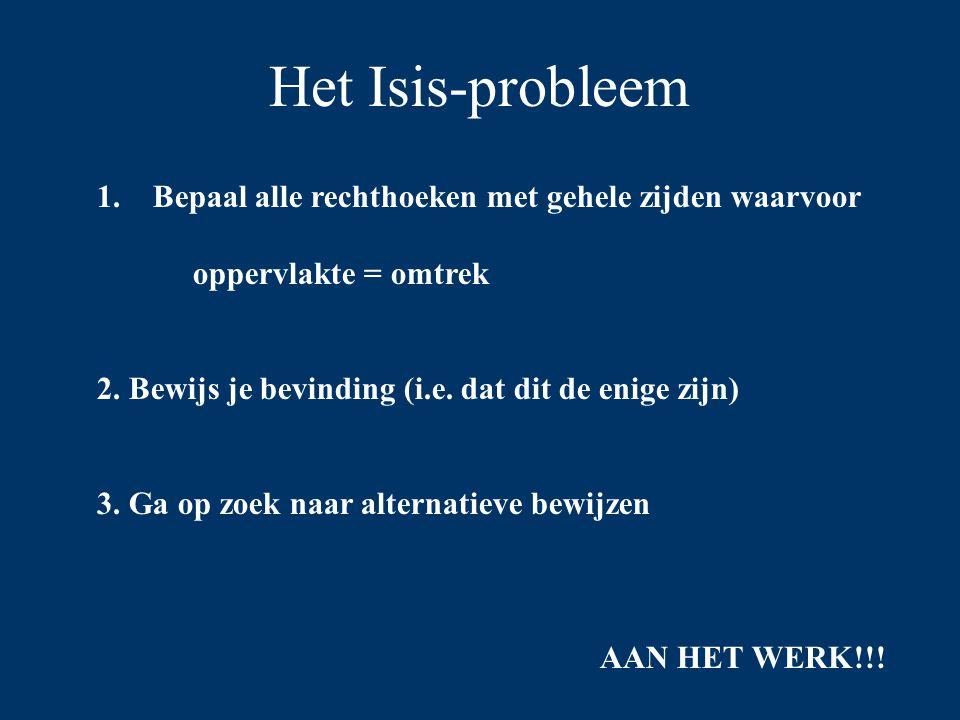 Het Isis-probleem Bepaal alle rechthoeken met gehele zijden waarvoor