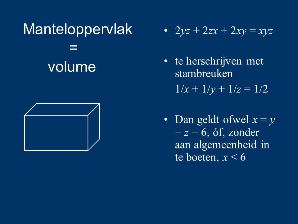 Manteloppervlak = volume 2yz + 2zx + 2xy = xyz