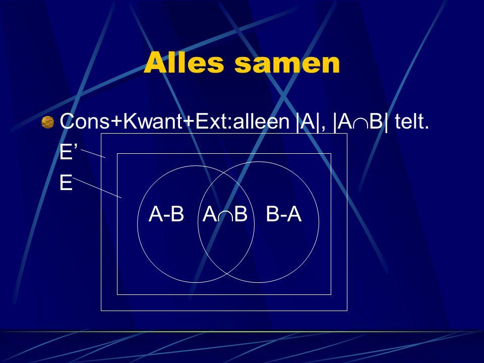 Alles samen Cons+Kwant+Ext:alleen |A|, |AB| telt. E' E A-B AB B-A