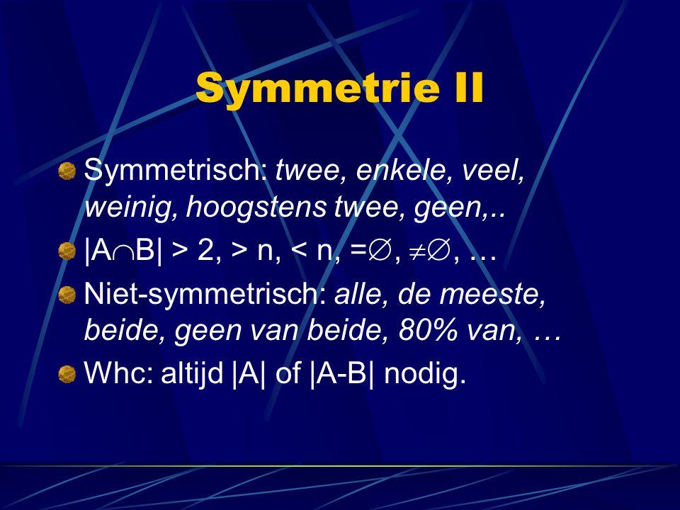 Symmetrie II Symmetrisch: twee, enkele, veel, weinig, hoogstens twee, geen,.. |AB| > 2, > n, < n, =, , …