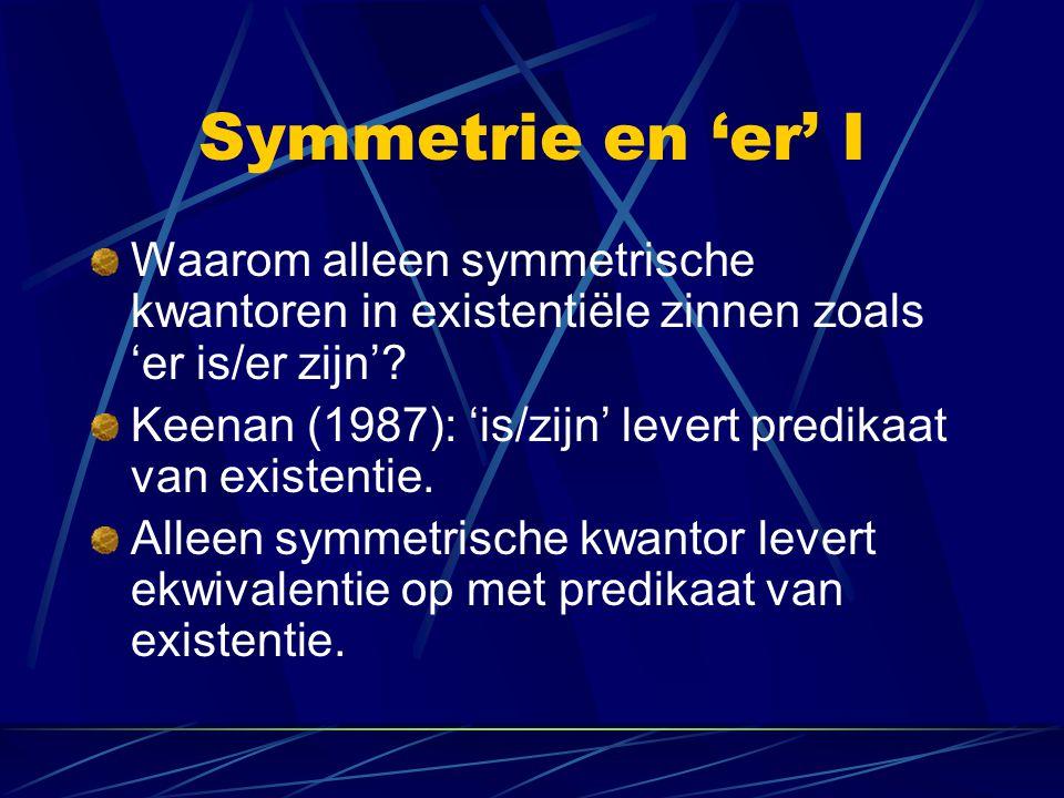 Symmetrie en 'er' I Waarom alleen symmetrische kwantoren in existentiële zinnen zoals 'er is/er zijn'