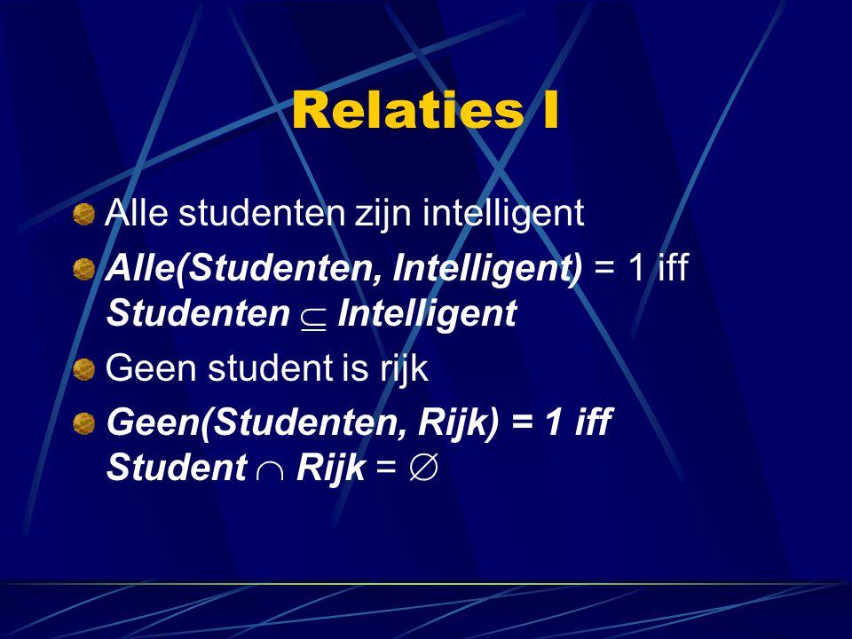 Relaties I Alle studenten zijn intelligent